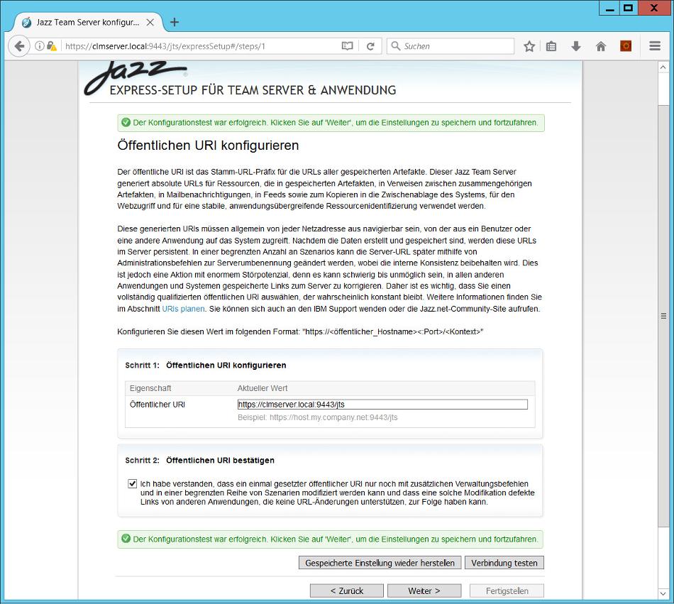Öffentlichen URI konfigurieren